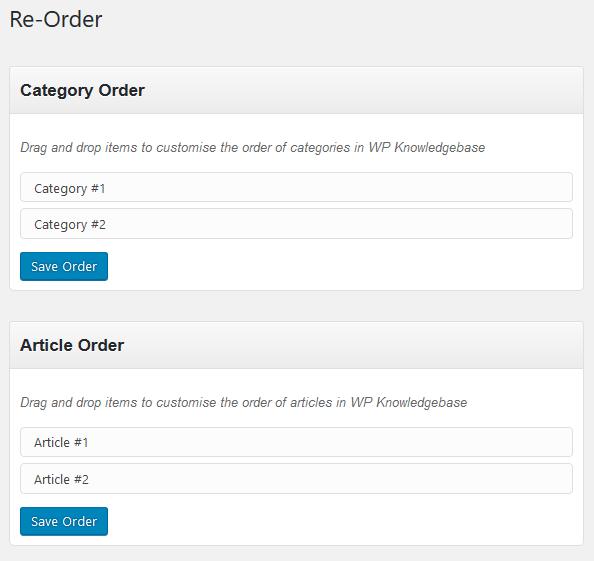 WP Knowledgebase - Re-Order Knowledgebase
